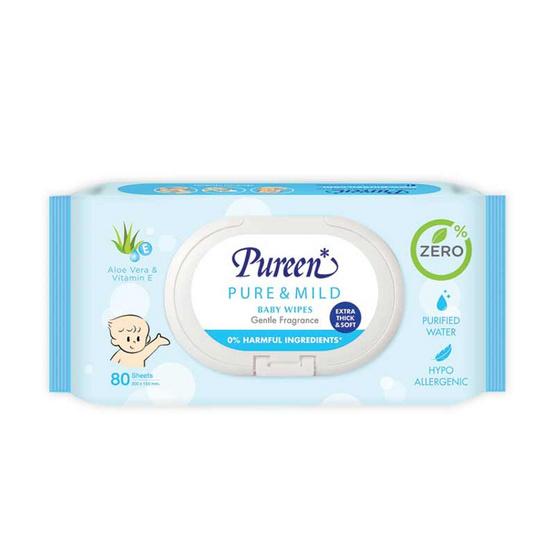 Pureen เพียวรีนผ้าเช็ดทำความสะอาด สูตรเพียวแอนด์มายด์ 80 แผ่น / ห่อ
