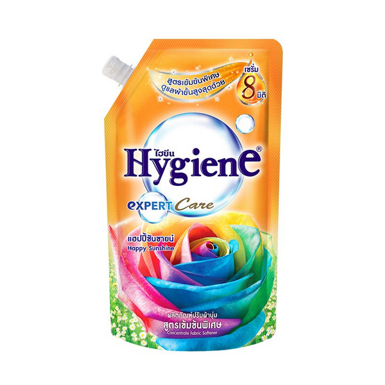 ไฮยีน ผลิตภัณฑ์ปรับผ้านุ่มเข้นข้น กลิ่นแฮปปี้ ซันชายน์ 600 มล. สีส้ม