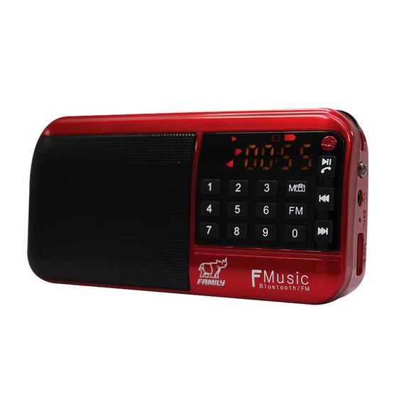 FAMILY เครื่องฟังเพลงแบบพกพา รุ่น F MUSIC FM-1 สีแดง