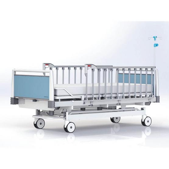 Hospro เตียงผู้ป่วย แบบ 2 ไกร์มือหมุน สีฟ้า