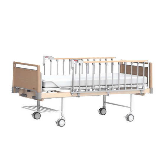 Hospro เตียงผู้ป่วย แบบ 2 ไกร์มือหมุน ลายไม้
