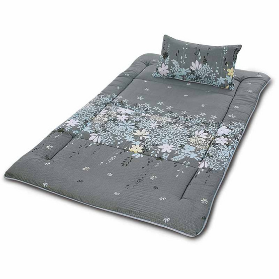 Smile ที่นอนปิกนิกพร้อมหมอน 105 x 180 ซม. ลายดอกไม้พื้นเทา