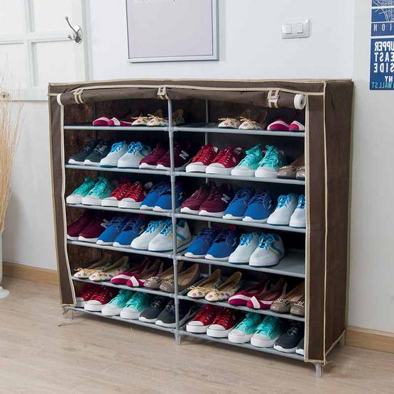 KANTAREEYA ชั้นวางรองเท้า 6 ชั้น แบบคู่ สีน้ำตาล
