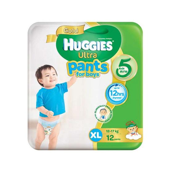 ฮักกี้ส์ อัลตรา โกลด์ กางเกงผ้าอ้อม ไซส์ XL 12 ชิ้น x 6 แพ็ค สำหรับเด็กชาย (ขายยกลัง)
