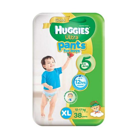 ฮักกี้ส์ อัลตรา โกลด์ กางเกงผ้าอ้อม ไซส์ XL 38 ชิ้น x 3 แพ็ค สำหรับเด็กชาย (ขายยกลัง)