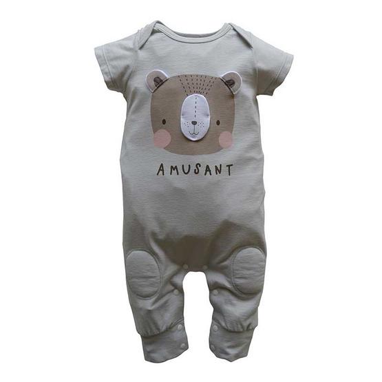 Amusant ชุดหมีเด็กแขนสั้น ขายาว สีเทา