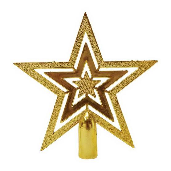 ดาวประดับยอดต้นคริสมาสต์ สีทอง 10 ซม. [6111-02(10 ซม.)]
