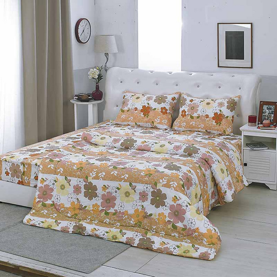Coloris ชุดผ้าปูโพลีเอสเตอร์ 6 ฟุต 3 ชิ้น + ผ้านวม ลายดอกไม้น้ำตาล