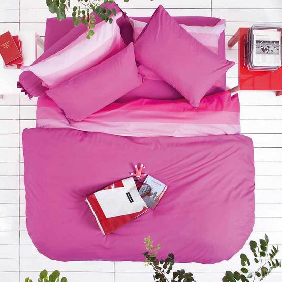 LOTUS ชุดผ้าปู 6 ฟุต 5 ชิ้น รุ่น IMPRESSION สีชมพูเข้ม