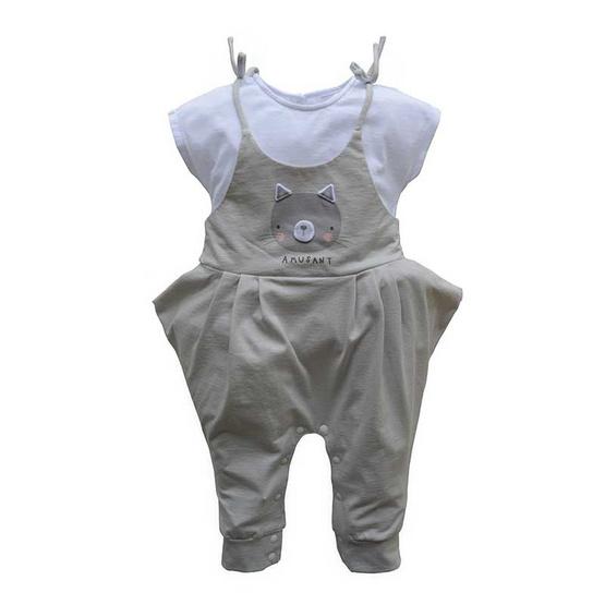 Amusant ชุดหมีเด็กผู้หญิงแขนสั้น ขายาว สีเทา