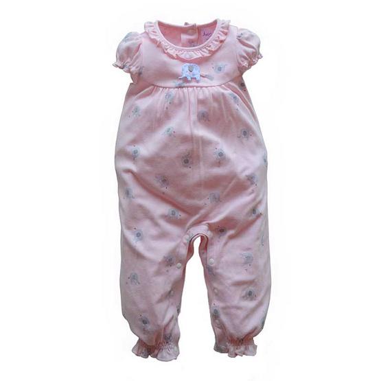 Amusant ชุดหมีขายาว พิมพ์ลายช้าง แขนตุ๊กตา สีชมพู
