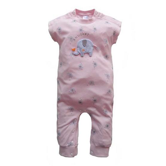 Amusant ชุดหมีขายาว พิมพ์ลายช้าง สีชมพู