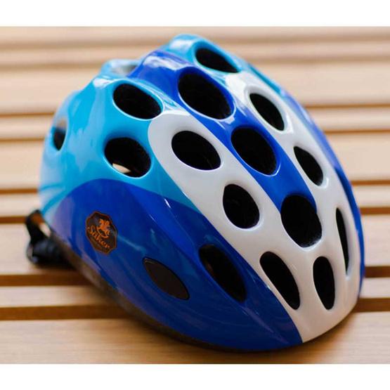 Saker หมวกกันน็อคเด็ก ทรงเอกซ์ตรีม สีฟ้า-ขาว ไซส์ S