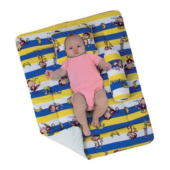 ชุดที่นอนเด็ก หมอนหนุน + หนุนข้าง ลายลิง สีเหลือง