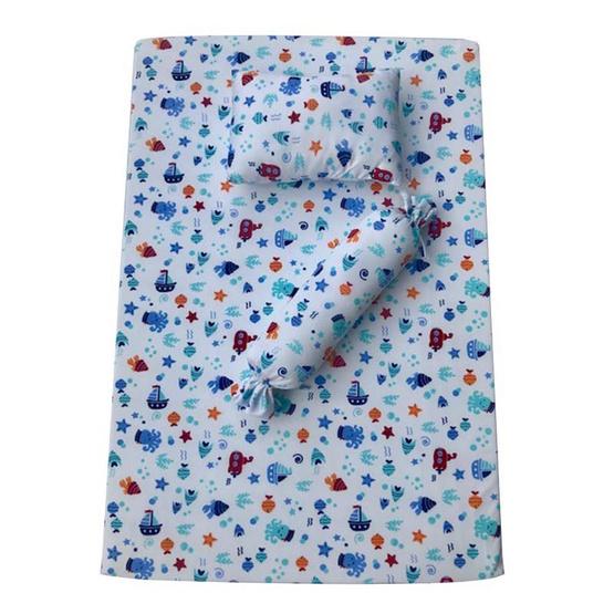 ชุดที่นอนเด็กอ่อน (เบาะฟองน้ำ) พร้อมหมอนหนุนหมอนข้างและปลอกหมอนครบชุด ขนาด 77 x 102 ซม. (คละสี คละลาย)