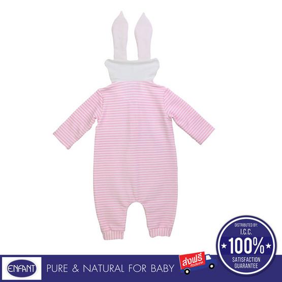 ENFANT ชุดหมีแขนยาวหูกระต่าย สีชมพู