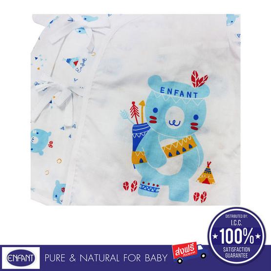 ENFANT เสื้อป้ายแขนสั้น ลายหมีตัวใหญ่ สีขาวฟ้า