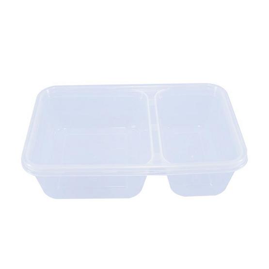 ORO กล่องสี่เหลี่ยมสีใส + ฝาใส ขนาด 500 ml (2 ช่อง) (ORO-003-01) / RO (25 ชุด / ห่อ)