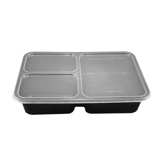 ORO กล่องสี่เหลี่ยมสีดำ + ฝาใส ขนาด 900 ml (3 ช่อง) (ORO-004-03) / RO(25 ชุด / ห่อ)
