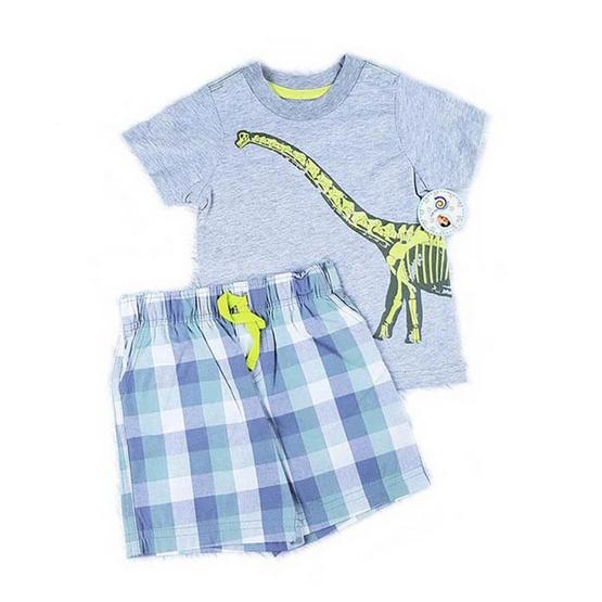 Blueberry Bon Bon Baby Boy Set เสื้อยืดกางเกงขาสั้น ลายไดโนเสาร์