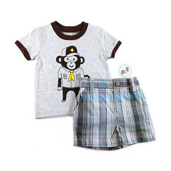 Blueberry Bon Bon Baby Boy Set เสื้อยืดกางเกงขาสั้น ลายลิง สีเทา