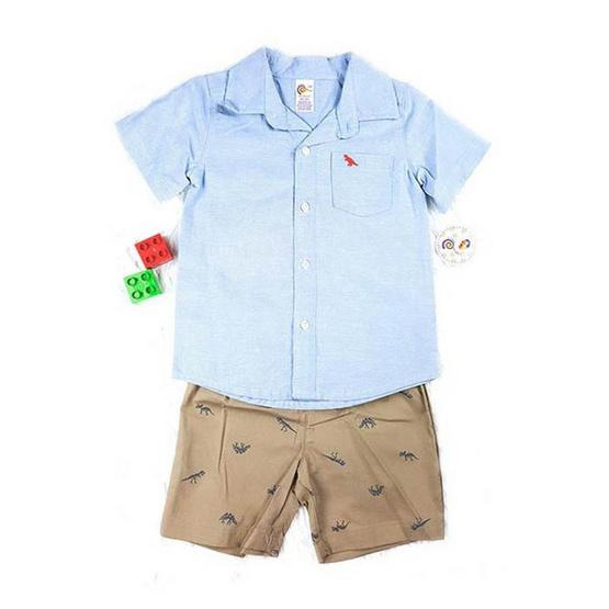Blueberry Bon Bon Baby Boy Set เสื้อเชิ้ตกางเกงขาสั้น ลายไดโนเสาร์ สีฟ้า