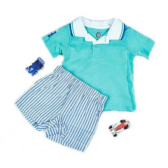Blueberry Bon Bon Baby Boy Set เสื้อโปโลเขียวฟ้า กางเกงขาสั้นลายทาง