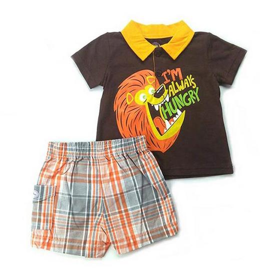 Blueberry Bon Bon Baby Boy Set เสื้อโปโลลายสิงโต กางเกงขาสั้น
