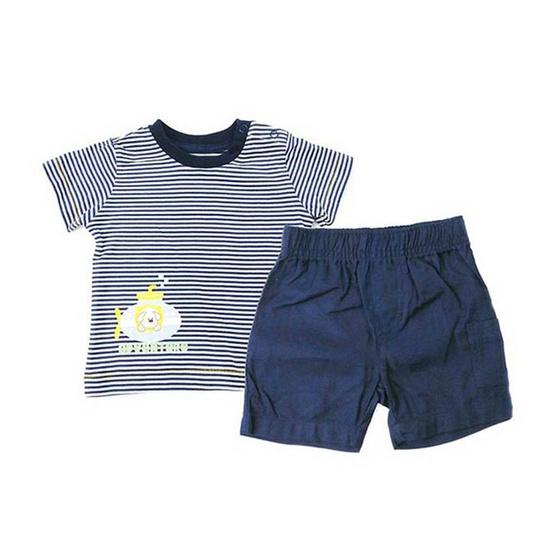 Blueberry Bon Bon Baby Boy Set เสื้อยืดลายขวาง กางเกงขาสั้น สีกรมท่า