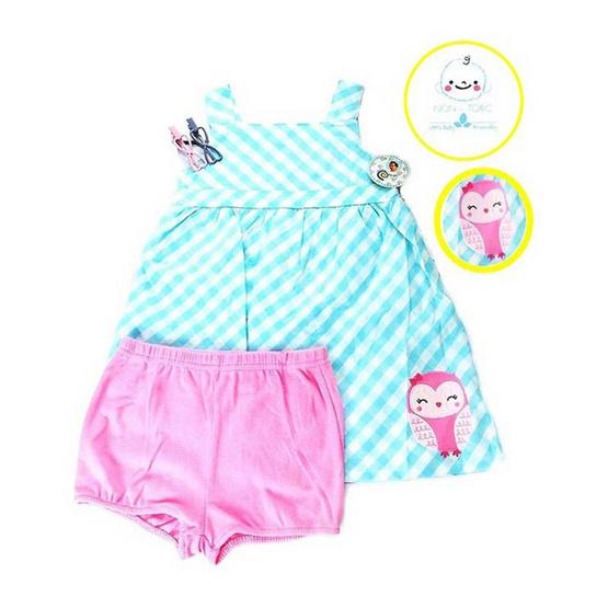 Blueberry Bon Bon Baby Girl Set ชุดเดรสปักลายนกฮูกสีฟ้าพร้อมกางเกงชั้นใน สีชมพู