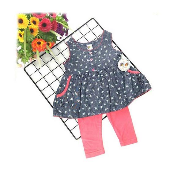 Blueberry Bon Bon Baby Girl Set เสื้อแขนกุดพิมพ์ลายดอกพร้อมเลกกิ้ง สีชมพู