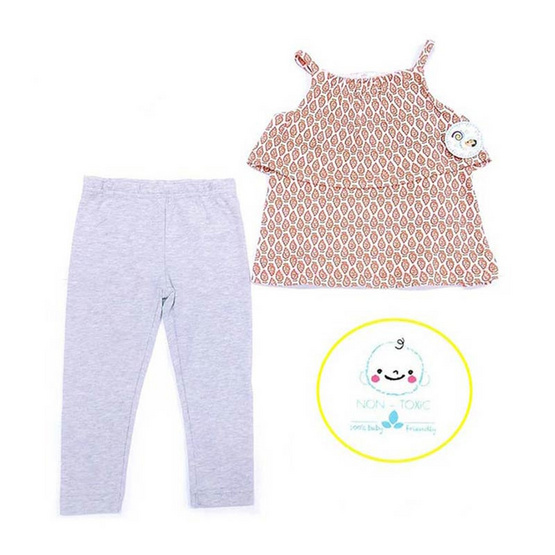 Blueberry Bon Bon Baby Girl Set เสื้อสายเดี่ยวพร้อมเลกกิ้ง สีเทาอ่อน