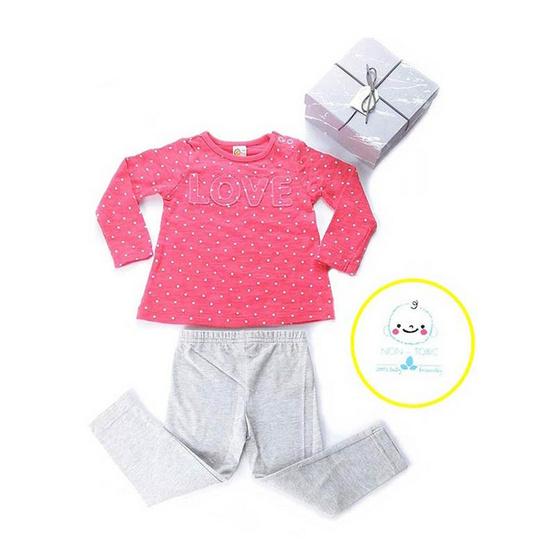 Blueberry Bon Bon Baby Girl Set เสื้อแขนยาวสีชมพู พร้อมเลกกิ้ง สีเทาอ่อน
