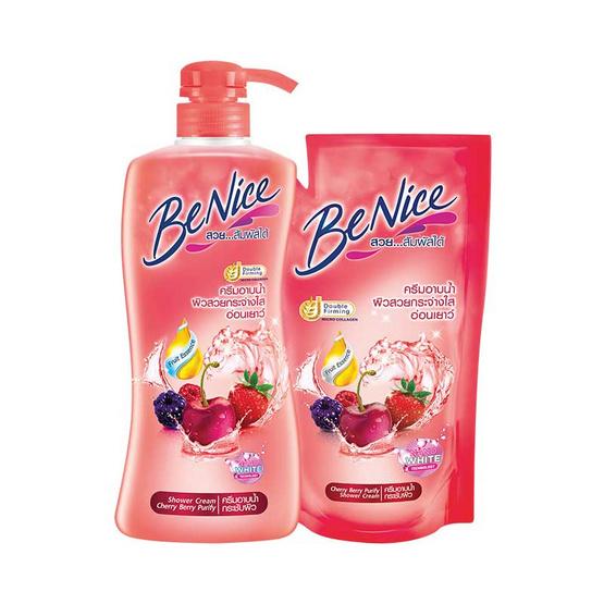 Be Nice ครีมอาบน้ำ กลิ่นเชอร์รี่เบอร์รี่ 450 มล. ขวดปั้ม + ถุงเติม 400 มล.