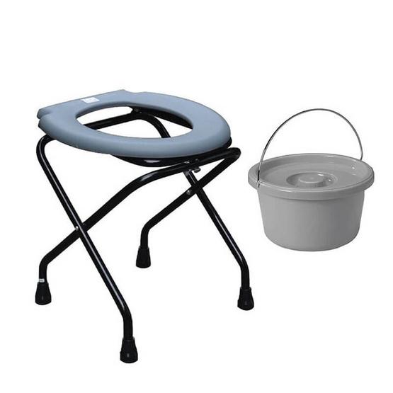 Abloom เก้าอี้นั่งถ่ายเหล็กชุบสีดำ พับได้