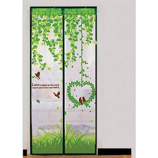 ม่านกันยุงและแมลง ลายนกคู่รัก สีเขียว 90 x 210 ซม.