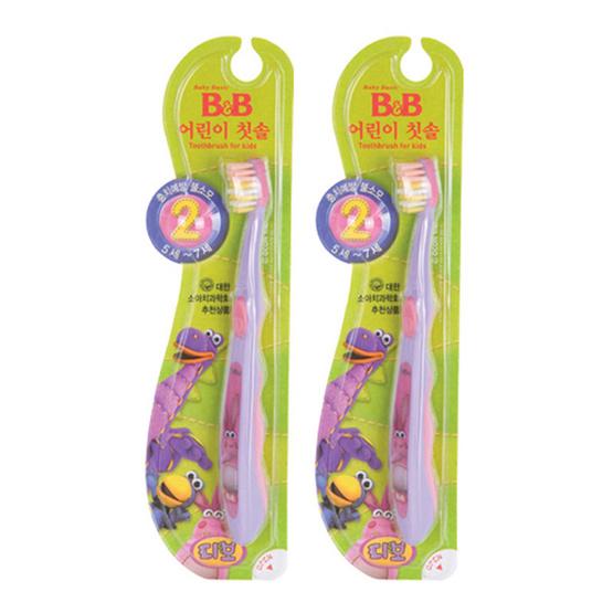 บีแอนด์บี แปรงสีฟันเด็ก สำหรับเด็กอายุ 5-7 ปี สีม่วงอ่อน (2 ด้าม / แพ็ค)