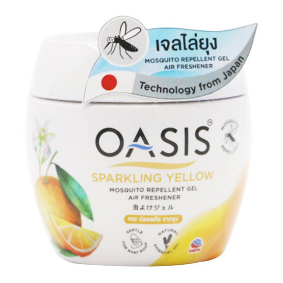 Oasis โอเอซิส เจลไล่ยุง กลิ่นสปาร์คกลิ้ง เยลโล่ 180 กรัม