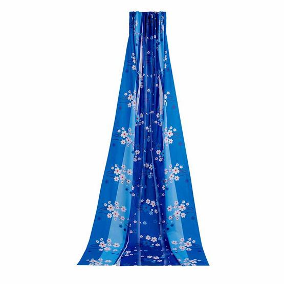 ผ้า DIY 112x250 ซม. ลายไวท์พริมโรส สีฟ้า
