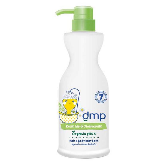 dmp สบู่อาบน้ำ ออร์แกนิค เบบี้บาธ โรสฮิป & คาโมมายแฮร์ สีเขียว 480 มล. ขวดปั๊ม