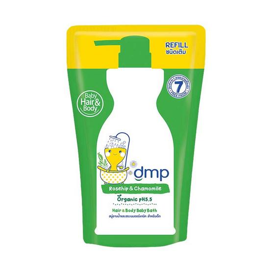 dmp สบู่อาบน้ำ ออร์แกนิค เบบี้บาธ โรสฮิป & คาโมมายแฮร์ สีเขียว 350 มล. ถุงเติม