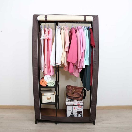 ตู้เสื้อผ้ามีชั้น รุ่น PX11 สีน้ำตาลครีม 2 ราว