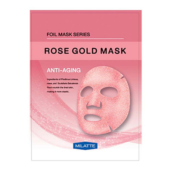 MILATTE FASHIONY ROSE GOLD MASK - ANTI-AGING แผ่นมาส์กสารสกัดจากดอกกุหลาบและรากสคูลาเรีย