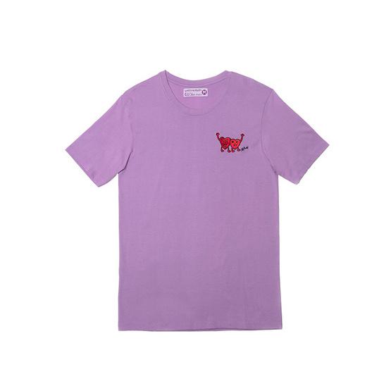 เสื้อยืดปัก ลายฝีพระหัตถ์ สีม่วง