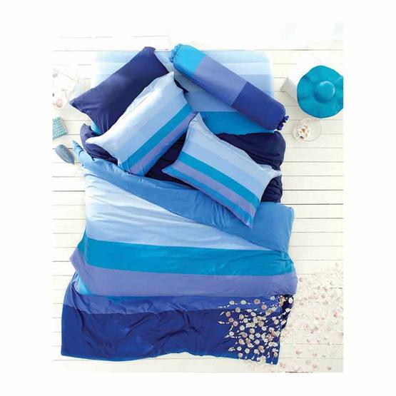 Lotus ชุดผ้าปู Stripies 6 ฟุต 5 ชิ้น สีน้ำเงินไล่ระดับ