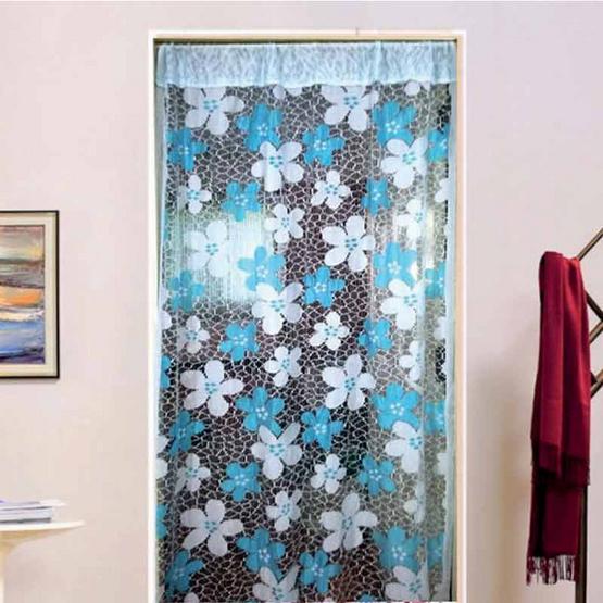 ม่านแพรริ้วประตูลายดอกไม้ สีฟ้า