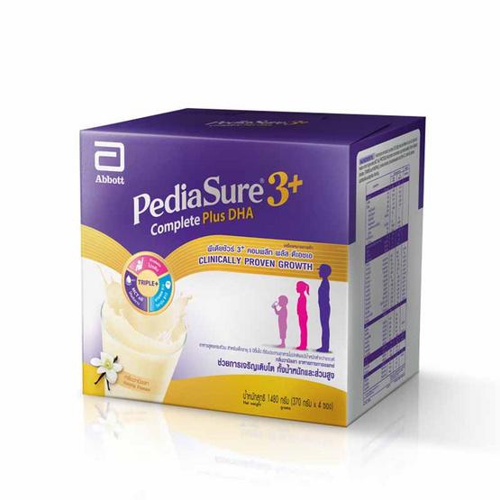 PediaSure คอมพลีท สูตร 3 รสวานิลลา 1,480 กรัม 4 ถุง / กล่อง
