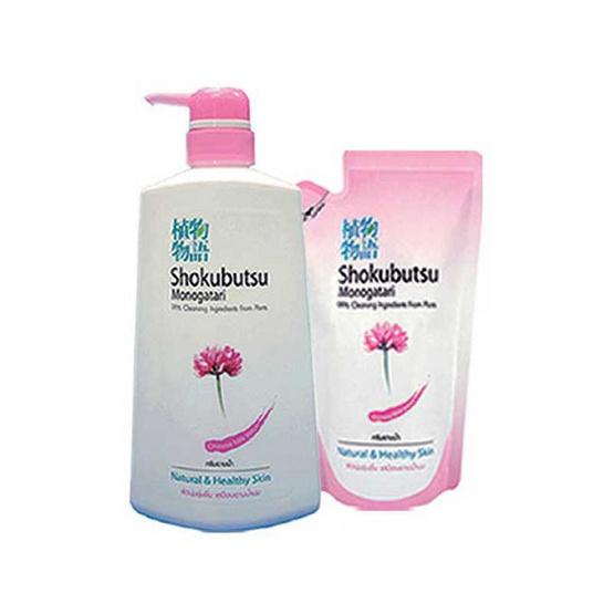 Shokubutsu ครีมอาบน้ำ สีชมพู 500 มล. + ถุงเติมสีชมพู 200 มล.