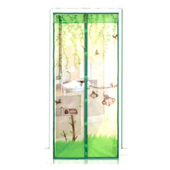 ม่านกันยุงประตู ลาย ลิงน้อยสีเขียว แพ็กคู่