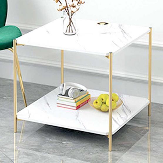 โต๊ะกลางลายหินอ่อนแบบเหลี่ยม สีขาว